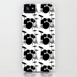 Drumset Pattern (Black on White) iPhone Case