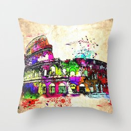 Colosseo Grunge Throw Pillow
