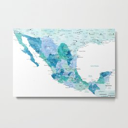 Detailed map of Mexico with states, aquamarine blue Metal Print