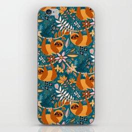 Happy Boho Sloth Floral iPhone Skin