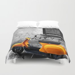 Orange Vespa in Bologna Black and White Photography Duvet Cover