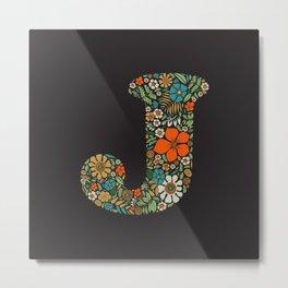 Hippie Floral Letter J Metal Print