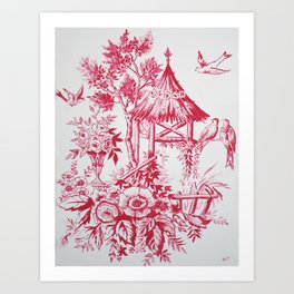 Classic red white Chinoiserie Art Print