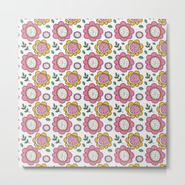 Colorful Pink and Yellow Flower Pattern II Metal Print