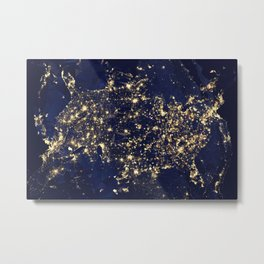 Gold map Metal Print