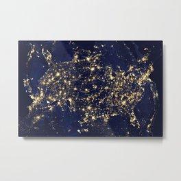 Gold map Metal Print