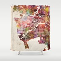 vancouver Shower Curtains featuring Vancouver by MapMapMaps.Watercolors