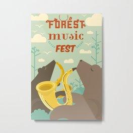 Forest Music Fest Saxophone Bears Metal Print