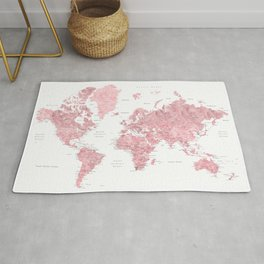 Light pink, muted pink and dusty pink watercolor world map with cities Rug