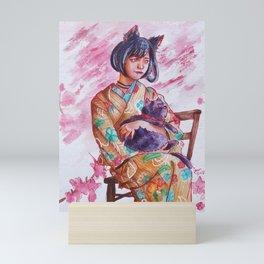 Cat girl in Japanese kimono, sakura blossom spring watercolor painting Mini Art Print