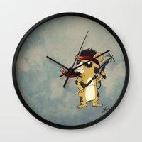 hamster Wall Clocks featuring Hamster Rambo by Carrillo Art Studio