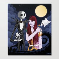 nightmare before christmas Canvas Prints featuring The Nightmare Before Christmas by Cécile Appert