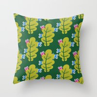 Bugs Eat Green Leaf Throw Pillow