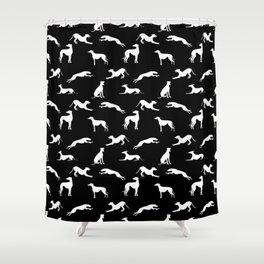 Greyhound Silhouettes White on Black Shower Curtain