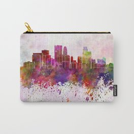 Minneapolis skyline in watercolor background Carry-All Pouch