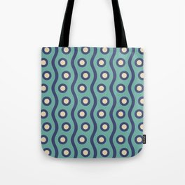 Mid Century Modern Rising Bubbles Pattern Turquoise and Blue Tote Bag