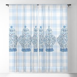 Blue and White Ginger Jar Gingham Sheer Curtain