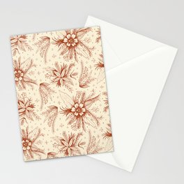 red sketchy floral pattern Stationery Cards