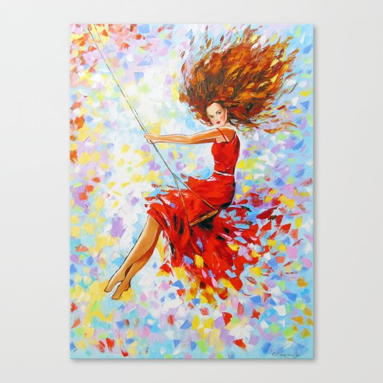 Girl on the swing Canvas Print