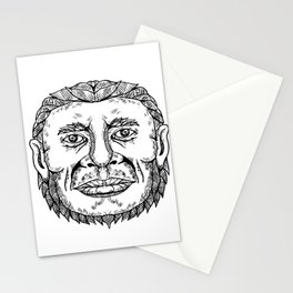 Neanderthal Male Head Doodle Art Stationery Cards