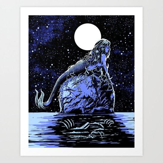 Mermaid Skull Art Print