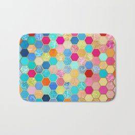 Patterned Honeycomb Patchwork in Jewel Colors Bath Mat