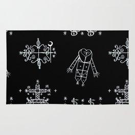 Papa Legba + Baron Samedi + Gran Bwa + Damballah-Wedo Voodoo Veve Symbols in Black Rug