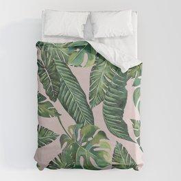 Jungle Leaves, Banana, Monstera Pink #society6 Bettbezug