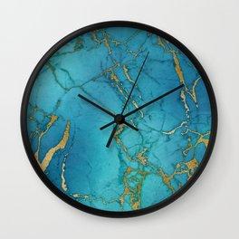 Turquoise Gold Metallic Marble Stone Wall Clock