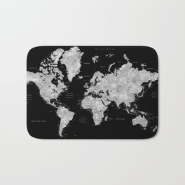 Black and grey watercolor world map with cities Bath Mat