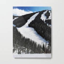Tiny Skiers Metal Print