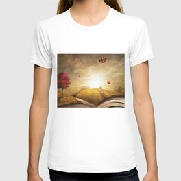 Girl with Balloons at Sunset atop open book magical realism portrait painting T-shirt