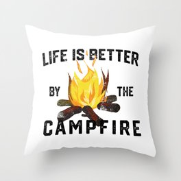 Camping nature forest mountains outdoor tree gift Throw Pillow
