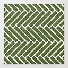 Olive green and white herringbone pattern Canvas Print