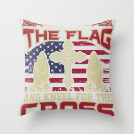I stand for the flag and kneel for the cross Throw Pillow