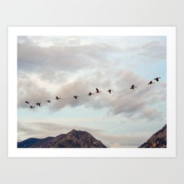 Migration of the Birds // Mountain and Sky Meets Nature Landscape Photography of Wildlife Art Print