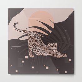 Nomade Night / Cheetah and Palm Leaf Metal Print