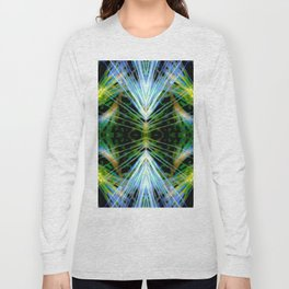 Blue Green Bright Rays,Fractal Art Long Sleeve T-shirt