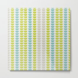 Grey, Green and Blue Abstract Stripe Pattern Metal Print
