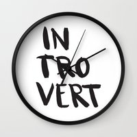 introvert Wall Clocks featuring Introvert by Dead Language