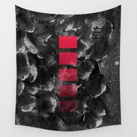 decal Wall Tapestries featuring black ocean by LEEMO