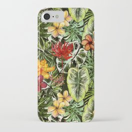 Tropical Vintage Exotic Jungle Flower Flowers - Floral watercolor pattern iPhone Case