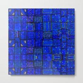 Deep Calm Blue Oriental Berber Traditional Moroccan Texture Design  Metal Print