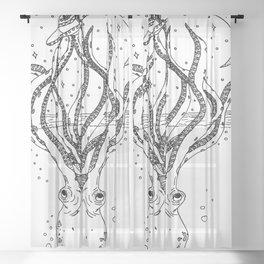 Alien vs. Octopus Sheer Curtain