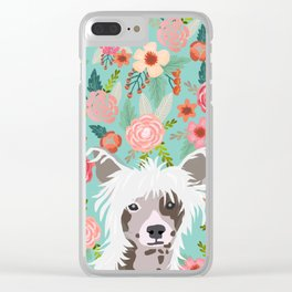 Chinese Crested floral dog breed pattern cute dog gifts for dog lovers Clear iPhone Case