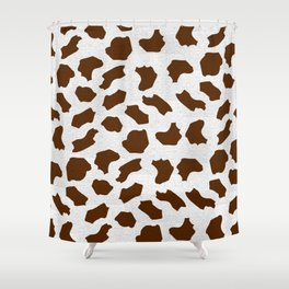 Brown Cow Spots Pattern Shower Curtain