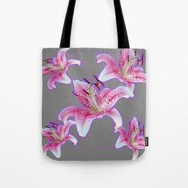 PURPLE & PINK ASIAN LILIES GREY ART PATTERNS Tote Bag