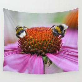 Bumblebees on pink flower Wall Tapestry