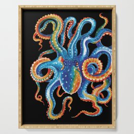Octopus Colorful Tentacles On Black Serving Tray