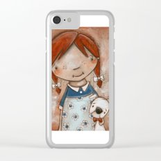 Her Favorite Fella - Red-haired girl and white boxer Clear iPhone Case